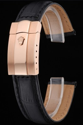 Rolex Black Leather with Rose Gold Clasp Bracelet 622498