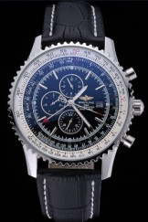 Breitling Navitimer World Black Dial Black Leather Bracelet 622513