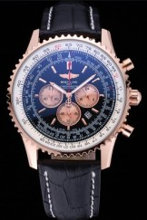 Breitling Navitimer 01 Black Dial Rose Gold Case Black Leather Bracelet 622503
