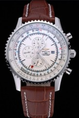 Breitling Navitimer World White Dial Brown Leather Bracelet 622514