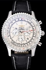 Luxury Top Replica 7908 Black Leather Strap Breitling Navitimer Steel Watch