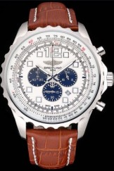 Breitling Top Replica 7895 Brown Leather Strap Navitimer Brown Leather Strap White Dial