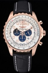 Breitling Top Replica 7904 Black Leather Strap Navitimer Rosegold Bezek Leather Strap White Dial