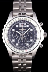 Breitling Top Replica 7901 Silver Stainless Steel Strap Navitimer Stainless Steel Strap Black Dial