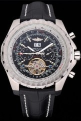 Breitling Bentley Mulliner Tourbillon Black Dial Stainless Steel Case Black Leather Strap 622728