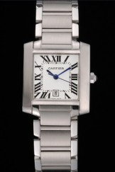 Swiss Cartier Tank Francaise Steel Case White Dial Roman Numerals Stainless Steel Bracelet 622649