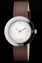 Hermes Classic Top Replica 9051 MOP Dial Brown Leather Strap