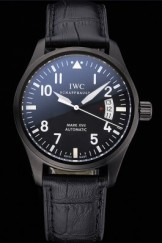 Swiss IWC Mark XVII Black Steel Case Black Dial Black Leather Bracelet 622667