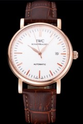 Swiss IWC Portofino Gold Case White Dial Brown Leather Bracelet 622668