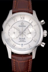 Omega DeVille Silver Bezel with White Dial and Brown Leather Strap 621566