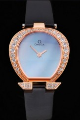 Omega Ladies Watch Blue Dial Gold Case With Diamonds Black Leather Strap 622830