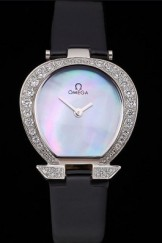 Omega Ladies Watch Pearl Dial Stainless Steel Case With Diamonds Black Leather Strap 622828