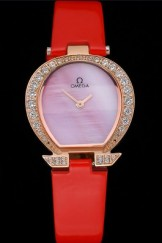 Omega Ladies Watch Pink Dial Gold Case With Diamonds Red Leather Strap 622831