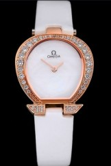 Omega Ladies Watch White Dial Gold Case With Diamonds White Leather Strap 622829