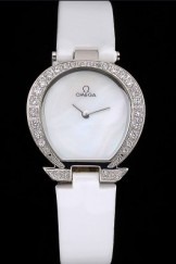 Omega Ladies Watch White Dial Stainless Steel Case With Diamonds Case White Leather Strap 622824