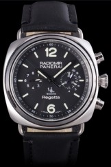 Black Top Replica 8606 Black Leather Strap Panerai Radiomir Luxury Watch