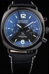Panerai Top Replica 8601 Black Leather Strap Black Luxury Watch 68