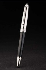 MontBlanc Top Replica 8320 Black Strap Silver Rimmed Grooved Black Ballpoint Pen With MB Inscribed Silver Cap