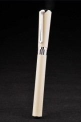 MontBlanc Top Replica 8290 Ivory Strap Silver Trimmed Ivory Ballpoint Pen With Cap