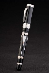 MontBlanc Top Replica 8305 Black Strap Black And Silver Design Ballpoint Pen With MB Inscribed Cap