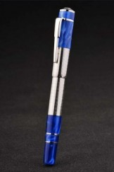 MontBlanc Top Replica 8315 Strap Grey Hazed Blue Enamel Rimmed Silver Cutwork Ballpoint Pen With Cap