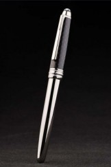 MontBlanc Top Replica 8309 Strap Silver Ballpoint Pen With MB Inscribed Black Cap