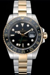 Swiss Rolex GMT Master Yellow Gold Bezel Black Dial 80295