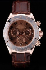 Rolex Daytona Top Replica 9166 Rose Gold Case Brown Dial Brown Leather Strap