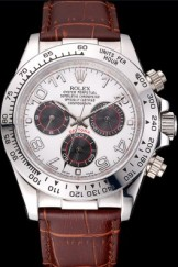 Rolex Daytona Top Replica 9164 Stainless Steel Case White Dial Brown Leather Strap