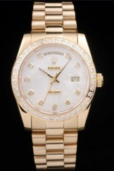 Rolex Top Replica 8817 Gold Stainless Steel Strap White Luxury Watch 269
