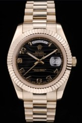 Rolex Swiss DayDate Gold Stainless Steel Ribbed Bezel Black Dial 41998
