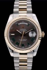 Rolex Swiss Top Replica 9215 DayDate Gold Stainless Steel Ribbed Bezel Grey Dial 41909