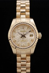 Rolex Top Replica 8721 Gold Stainless Steel Strap DateJust Ribbed Pattern Gold Bezel Gold Dial