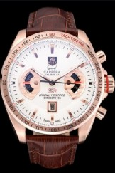 Tag Heuer Top Replica 9227 Carrera Rose Gold Case White Dial Brown Leather Strap